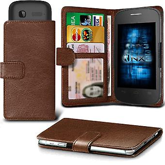 ONX3 Alcatel Pixi 4 (4) Leather Universal Spring Clamp Wallet Case With Card Slot Holder and Banknotes Pocket-Brown