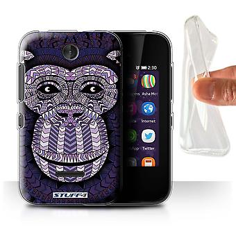 STUFF4 Gel/TPU Case/Cover for Nokia Asha 230/Monkey-Purple/Aztec Animal