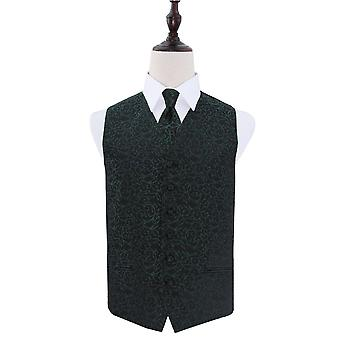 Black & Green Swirl Patterned Wedding Waistcoat & Tie Set