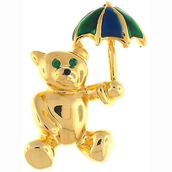 Brooches Store Gold Plated and Enamel Teddy Bear with Umbrella Brooch