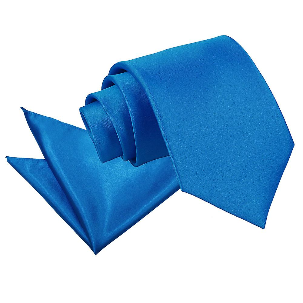 Plain Electric Blue Satin Tie 2 pc. Set