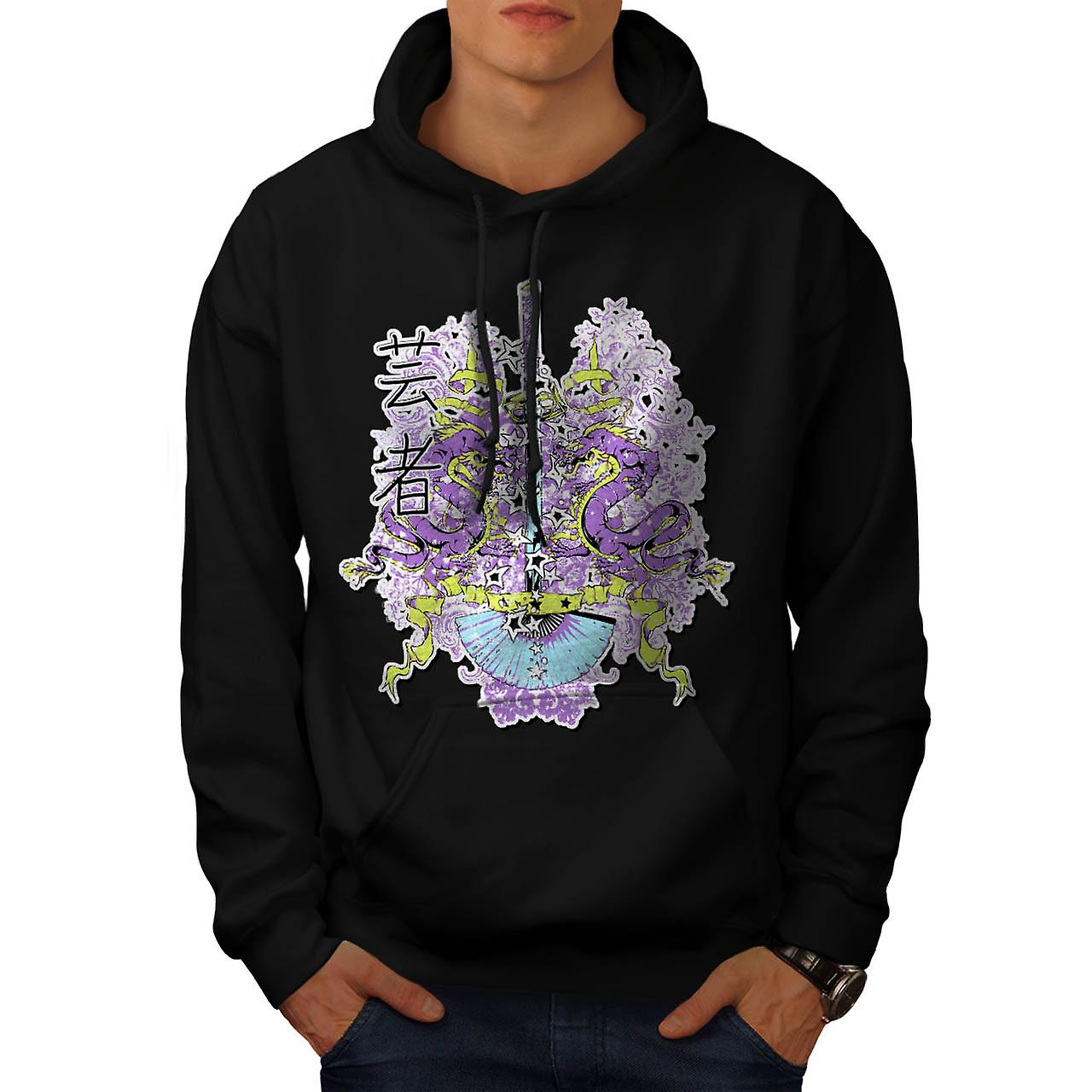 Chinese Dragon Sword Battle Myth Men Black Hoodie | Wellcoda