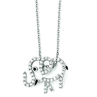 Sterling Silver CZ Enamel Elephant 18 Inch Necklace - 18 Inch