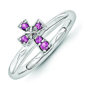 2.25mm Sterling Silver Stackable Expressions Rhodium Rho. Garnet Cross Ring - Ring Size: 5 to 10