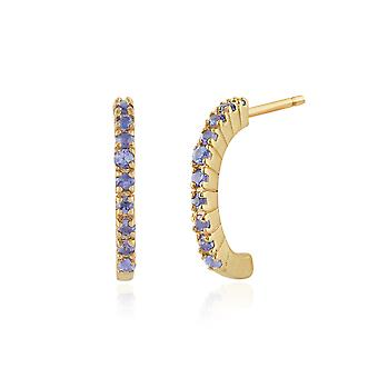 9ct Yellow Gold 0.22ct Genuine Sapphire Half Hoop Style Earrings