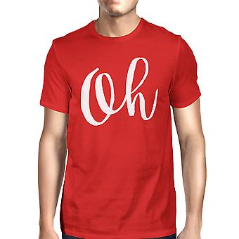 Oh Man Red T-shirts Funny Short Sleeve Typographic T-shirt