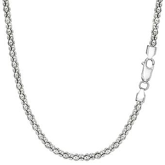 Sterling Silver Rhodium Plated Fancy Popcorn Rope Chain halsband, 2,5 mm