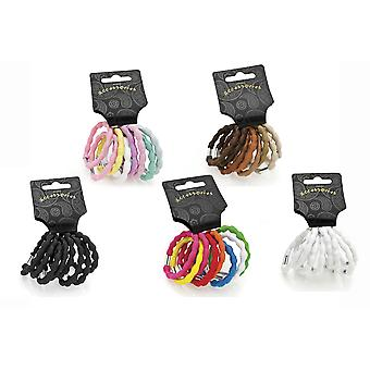 Eight Piece Ribbed Design Hair Elastic Set Various Colours