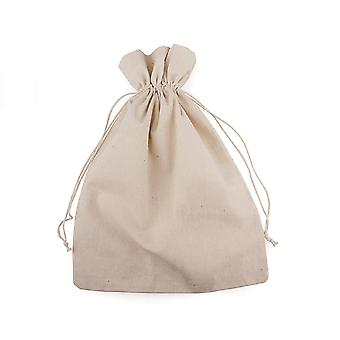 8 Large Linen Fabric Drawstring Bags to Decorate - 20x29cm