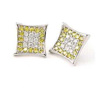 Sterling 925 Silver MICRO PAVE earrings - Y COLOR 12 mm
