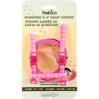 Figure H Fashion Adjustable Cat Harness And 6' Leash Combo-Pink Dot 06346-PDT18