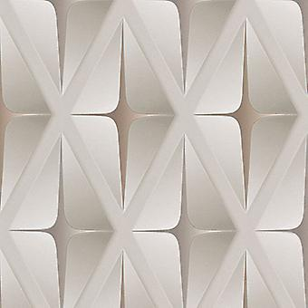 3D Wallpaper Geometric Square Embossed Modern Beige Brown White  AS Creation