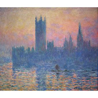 Claude Monet - The Houses of Parliament Sunset Poster Print Giclee