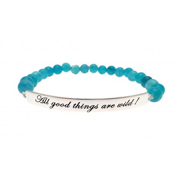 W.A.T 925 Sterling Silver 'All Good Things Are Wild' Turquoise Jade Quote Bracelet