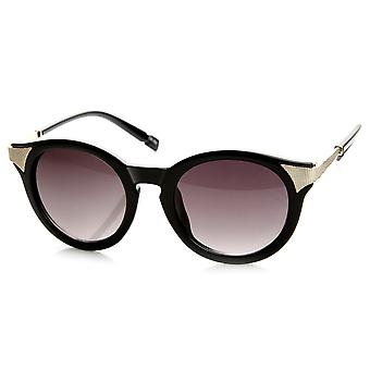 Mod Fashion Metal Temple Keyhole Round Horn Rimmed Sunglasses