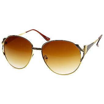 Womens Oversized Metal Color Two-Tone Fashion Sunglasses
