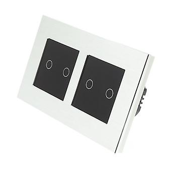 I LumoS Silver Brushed Aluminium Double Frame 4 Gang 2 Way Remote Touch LED Light Switch Black Insert