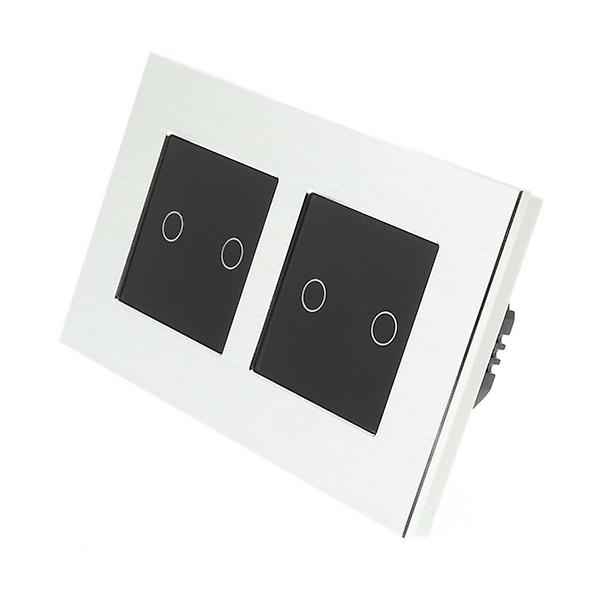 I LumoS argent Brushed Aluminium Double Frame 4 Gang 1 Way WIFI 4G Remote & Dimmer Touch LED lumière Switch noir Insert
