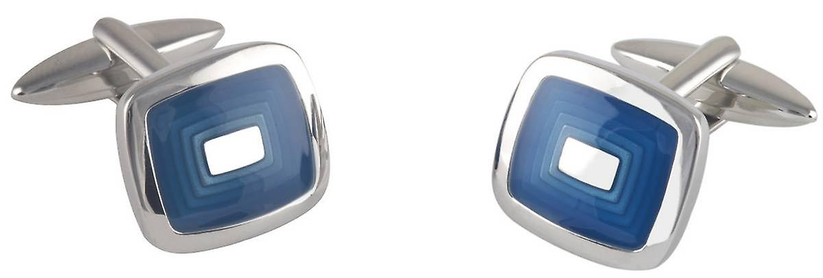 David Van Hagen Epoxy Stepped Rectangle Cufflinks - Silver/Navy
