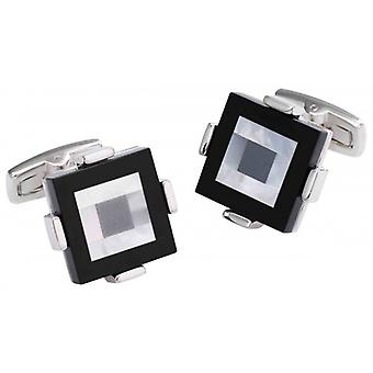 Duncan Walton Keek Onyx/Mother of Pearl and Hematite Stone Cufflinks - Black/Silver
