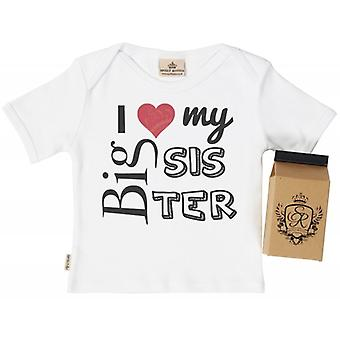 Spoilt Rotten I Love My Big Sis Babys T-Shirt 100% Organic In Milk Carton