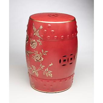 AA Importing 59853 18 Inch Red With Gold Drum Stool