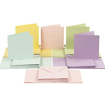 50 Pastel 15cm Square Cards and Envelopes - Card Making Crafts