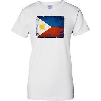 Phillipines Grunge Grunge Effect Flag - Ladies T Shirt