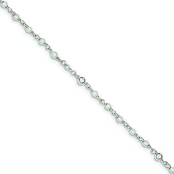 Argent sterling poli d'eau douce cultivées coeur perle bracelet de cheville - 10 pouces - printemps Ring