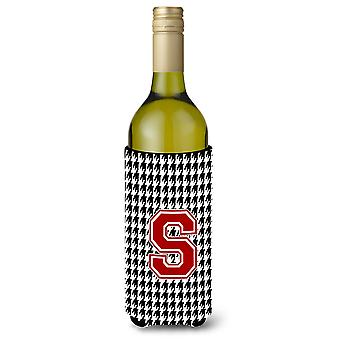Monogram - Houndstooth  Initial  S Wine Bottle Beverage Insulator Beverage Insul