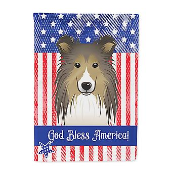 God Bless American Flag with Sheltie Flag Canvas House Size