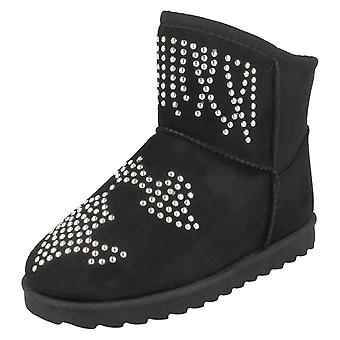Girls Spot On Fleece Lined Studded Ankle Boots H4143
