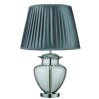 Chrome And Smoked Glass Table Lamp With Grey Pleated Shade - Searchlight 8531sm