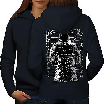 Grim Reaper Jail Horror Women NavyHoodie Back | Wellcoda