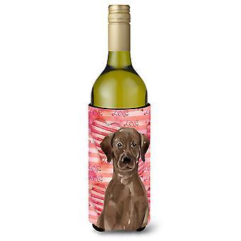 Chocolate Labrador Liebe Weinflasche Beverge Isolator Hugger