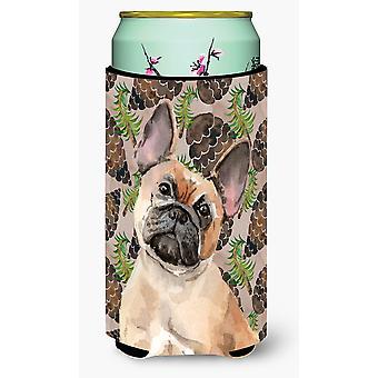 Fawn Fransk Bulldog tall kottar lång pojke dryck isolator Hugger