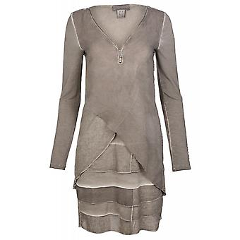 MANDARIN dress elegant Patchkleid knee-length Jersey dress in grey