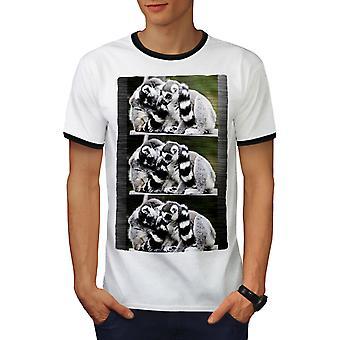 Lepricaun Nature Men White / BlackRinger T-shirt   Wellcoda