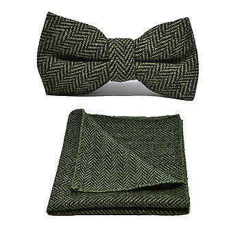 Pickle Green & Black Herringbone Bow Tie & Pocket Square Set