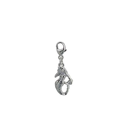 Silver 14x9mm Mermaid Charm on a lobster trigger