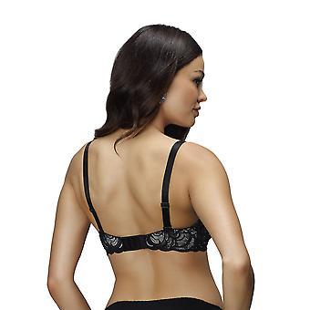 Nessa B2 Women's Vanilla II Black Motif Embroidered Padded Underwired Push Up Bra
