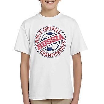 T-shirt Rússia selo mundo Futebol Campeonato 2018 do miúdo