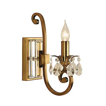 Wall Light - Antique brass finish & lead crystal beads