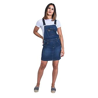 USKEES Short Denim Dungaree Dress - Palewash Bib Overall Skirt Braces Straps
