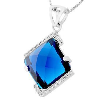 Orphelia plata 925 cadena con colgante azul Plaza circonio piedra ZH-7208