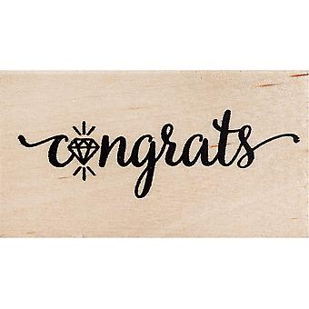 American Crafts Wooden Stamp-Congrats 2.25