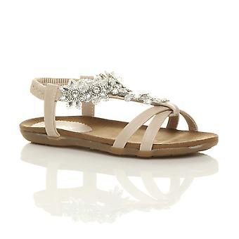 Ajvani damskie płaskie wyściełane komfort t-bar klamra kwiat diamante sandały