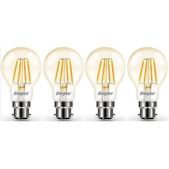 4 X Energizer LED Filament GLS Light Bulb Lamp Vintage BC B22 Clear 4.2W = 40W BC B22 Cap [Energy Class A+]