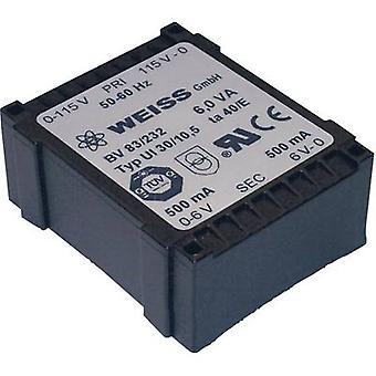 PCB mount transformer 1 x 230 V 2 x 9 V AC 6 VA 333 mA 83/234 Weiss Elektrotechnik