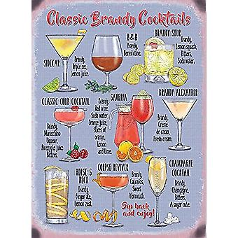 Classic Brandy Cocktail Recipes Large Steel Sign 400Mm X 300Mm